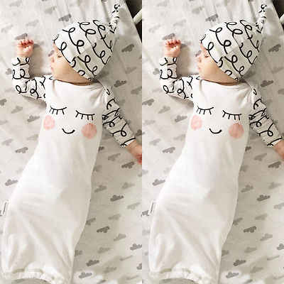 White Newborn Gift Set Robes Cotton Sleepy Eyes Rosy Cheeks Outfit Baby Gown Hat