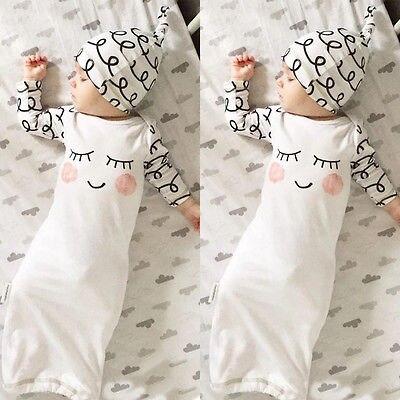 Cut Newborn Baby Clothes Sleepy Eyes+Rosy Cheeks Baby Gown Hat ...