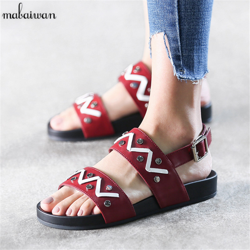 Fashion Women's Shoes Black Red Gladiator Rivets Sandals Summer Style Flats Shoes Woman Casual Footwear Flip Flops Buckle Sandal women s sexy cotton one piece underwear black