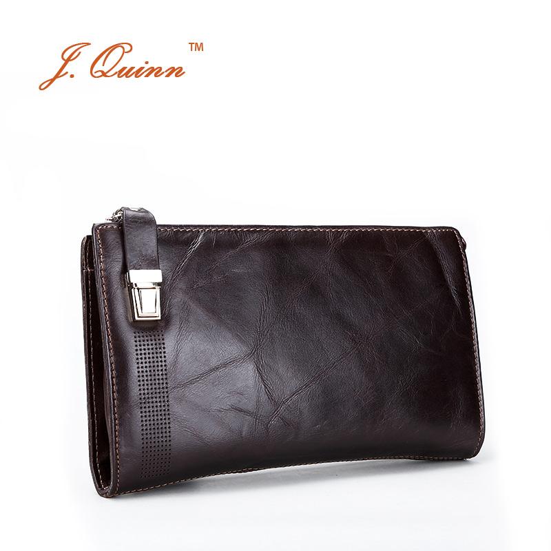 J. Quinn Safe hommes en cuir véritable embrayage portefeuilles sac à main grand Snap Long sac à main pour hommes portefeuille carte à glissière sacs à main 2017