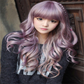 korean women wigs with bangs cheaps full taro wig curly long light purple wig natural hair heat resistant synthetic wigs cosplay