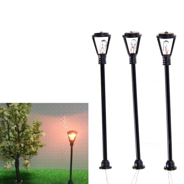 10pcs Mini Garden Lamps Miniatures Decoration Scale 1:100 Black Model Layout Single Head Lights Lamppost Landscape Light Model