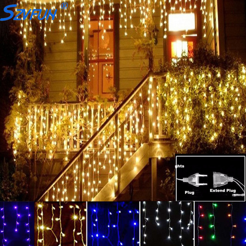 Led Garland Curtain String Lights Outdoor Drop 4 5m Icicle Fairy Party Wedding Christmas Cortina Decoration