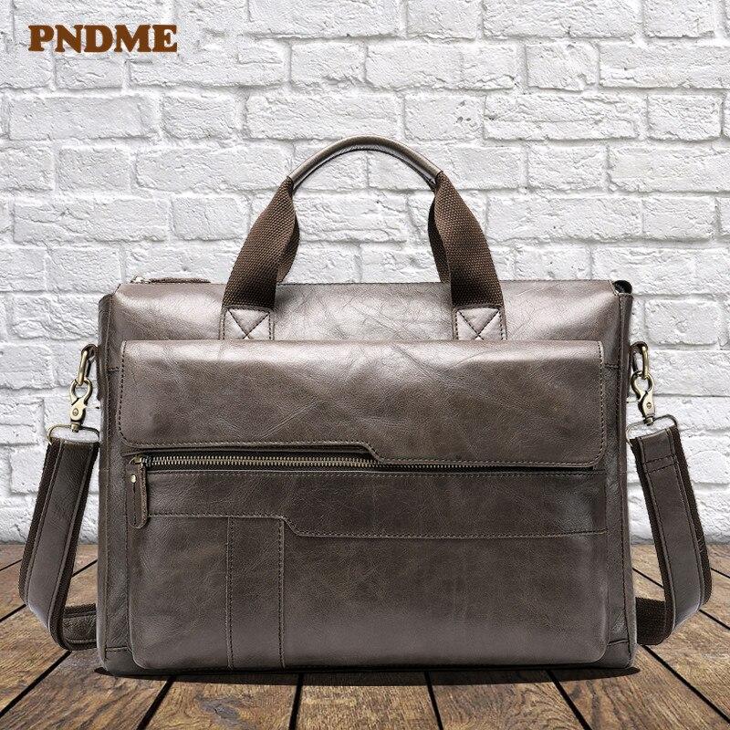 PNDME Casual Simple Genuine Leather Men's Briefcase Vintage First Layer Cowhide Laptop Bag Office Bag Shoulder Crossbody Bag