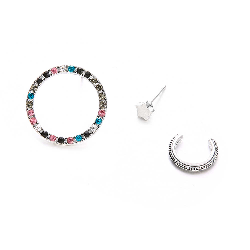 86e36987977b6 3PCS Multicolored Crystal Circle Bohemian Stud Earring Set Boho Star  Earrings for Women Jewelry 2019 Brincos Femme Ear Cuff