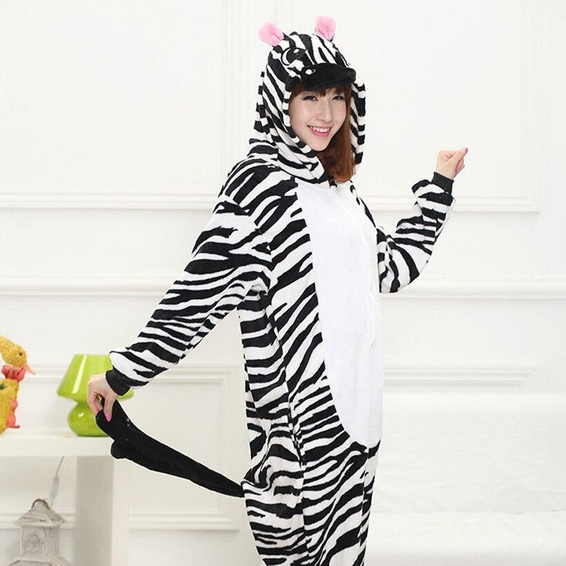 Мать Отец дочь мальчик Платья для женщин Семейные комплекты пижамы с капюшоном пижамы мультфильм животных партии Зебра Косплэй пижамы Pijamas