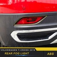 For Volkswagen T CROSS 2019 Car Styling Rear Fog Light Lamp Cover Trim Frame Sticker Exterior Accessories