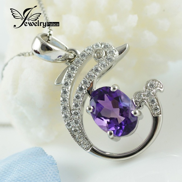 Halo Shining Dolphin Amethyst Gemstone Pendant 925 Sterling Silver Quality Best Gift Outstanding Natural Genuine Classic Jewelry