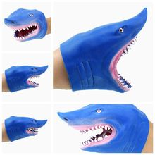 1Piece Green Soft TPR The Bule shark Hand Puppet Figure Gloves Toys Children Toy Model Gift