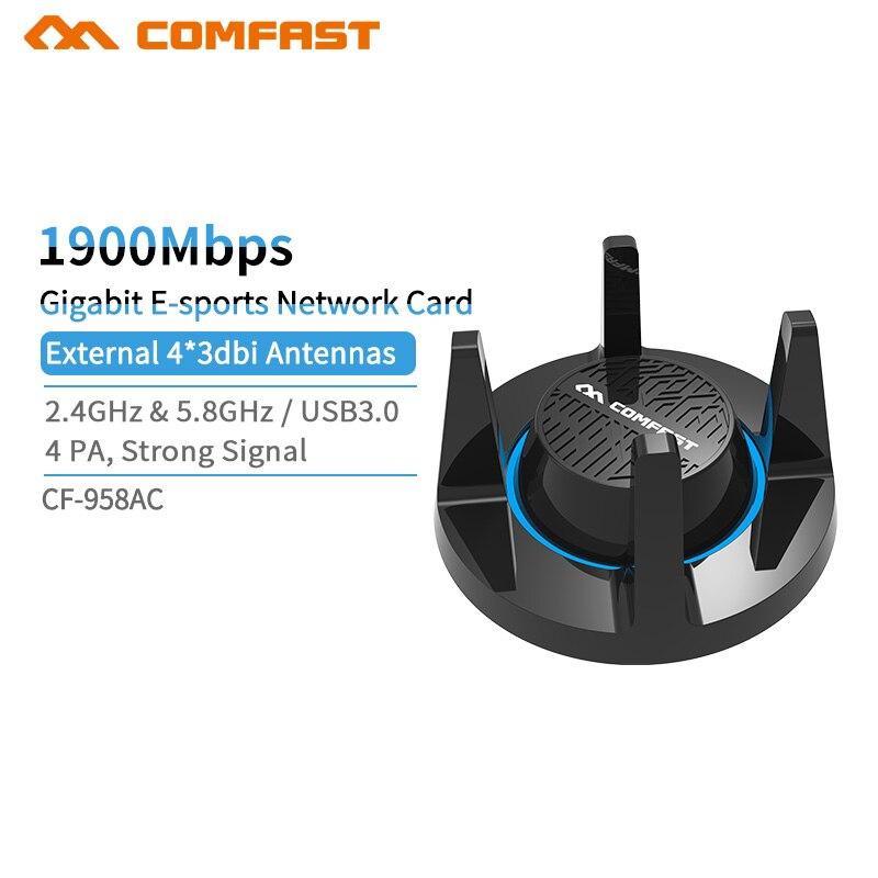 Puissant USB3. 0 adaptateur wifi 1900 Mbps 802.11AC Haute Vitesse 5 ghz Wi-fi Sans Fil carte réseau Double Bande PC capteur de wifi Adaptador