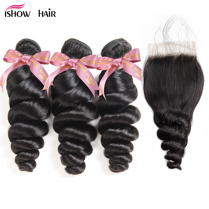 Ishow Loose Wave Hair Bundles With Lace Closure Free Part Peruvian Hair Bundles With Closure 4Pcs/Lot Remy Human Hair Extensions