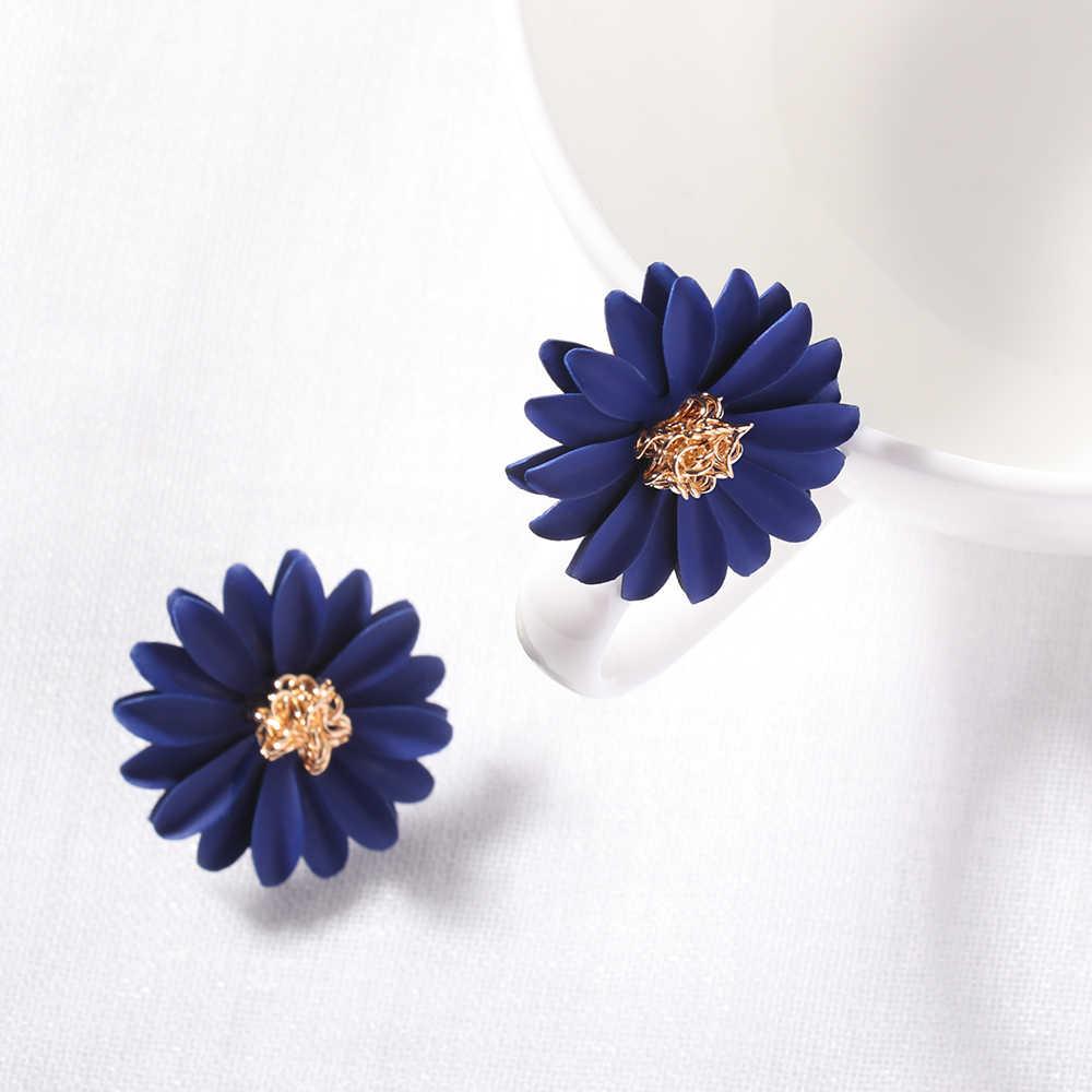 Корейский сладкий стиль элегантный спрей краска большой цветок серьги гвоздики для женщин индивидуальность Темперамент Серьги модные аксессуары