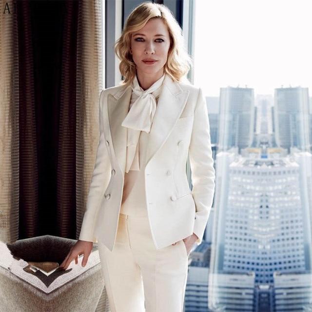Custom mujeres trajes de negocios Oficina formal traje de trabajo marfil  señoras pantalón elegante trajes para e060cd37dd68