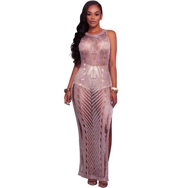 c0b6981fc8 Summer Hollow Out Knitted Crochet Maxi Beach Dress Sexy Gold Purple  Sleeveless O Neck Split See Through Club Long Dresses