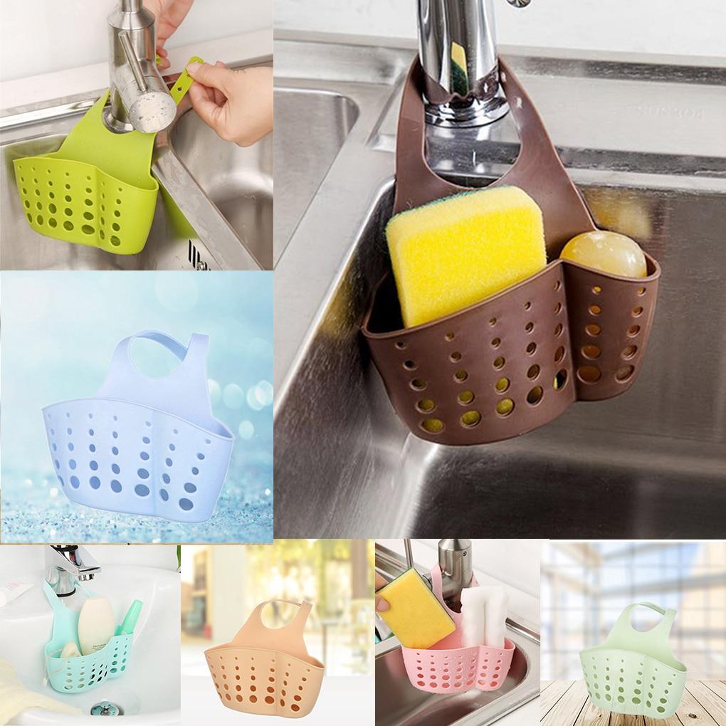 Adjustable Snap Sink Sponge Storage Rack Hanging Basket Bathroom Accessory Kitchen Organizer Hanging Storage Holder