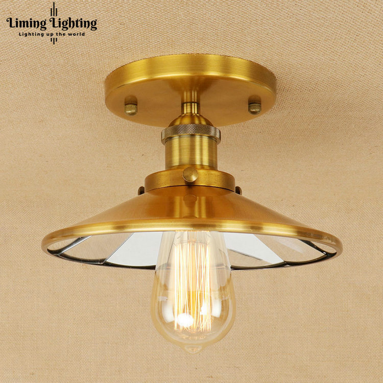 Retro Mirror Glass Iron Vintage Ceiling Light Fixtures Loft Edison Industrial Ceiling Lamp Hallway Antique lamps Home Lighting loft vintage mirror glass ceiling lamp retro ceiling light industrial edison bulb antique lampshade ambilight lighting fixture