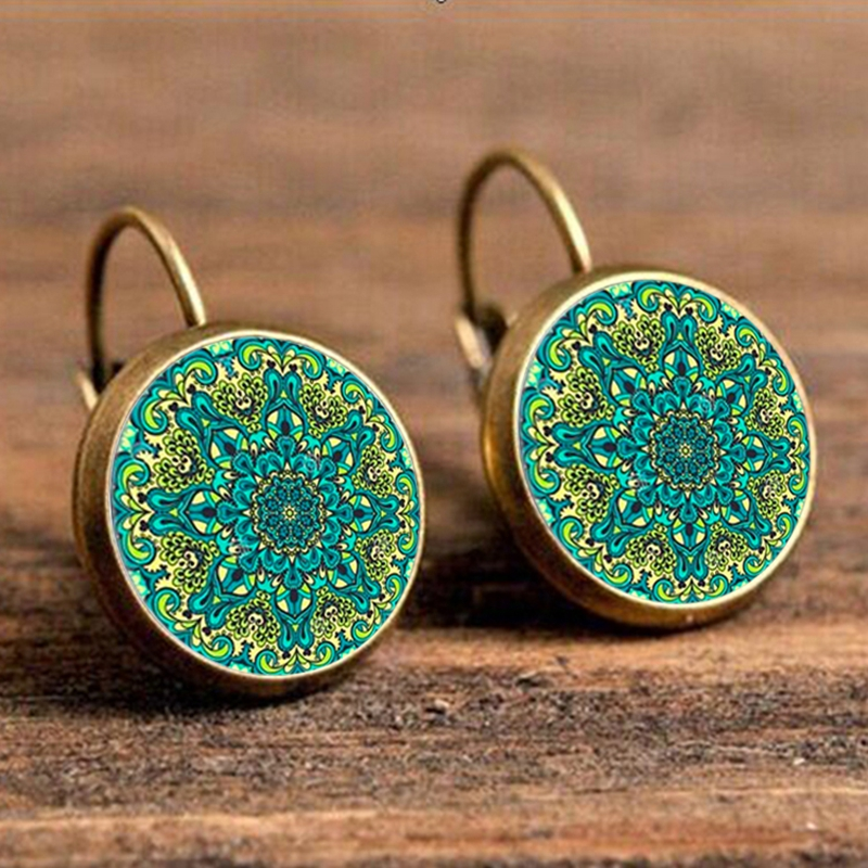 2017 Earrings Handmade Jewelry For Women Vintage Flower Earring Mandala Symbol Om Zen Buddhism Yoga Henna enamel earrings EF11