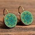 Hot 2016 handmade earrings jewelry for women retro flower earring mandala symbol om zen Buddhism yoga henna enamel earrings EF11
