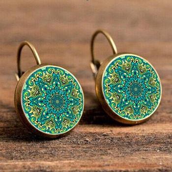 More Review SUTEYI Handmade Earrings Jewelry For Women Vintage Mandala  Flower Earring Symbol Om Zen Buddhism Yoga Henna Enamel Earring 8471c5434e15