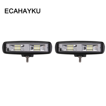 ECAHAYAKU 2pcs 6 inch 18W LED Work Light Flood Beam Truck For Jeep Motorcycles Off-road 4x4 ATV 4WD SUV UAZ Car Fog Lights