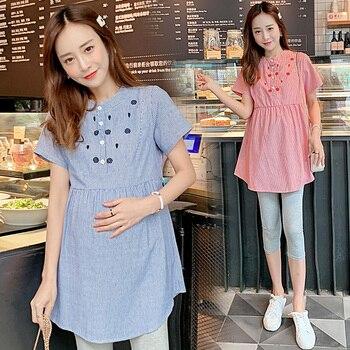 2daf47ea7 906   de maternidad verano blusas bordado rayas camisas de lino ropa para  mujeres embarazadas una línea corbatas Slim de cintura embarazo Tops