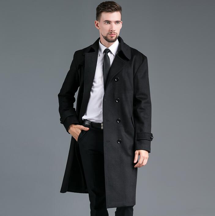Autumn winter woolen coat men long trench coats long sleeves overcoat mens cashmere coat Double breasted casaco england fashion in Wool amp Blends from Men 39 s Clothing