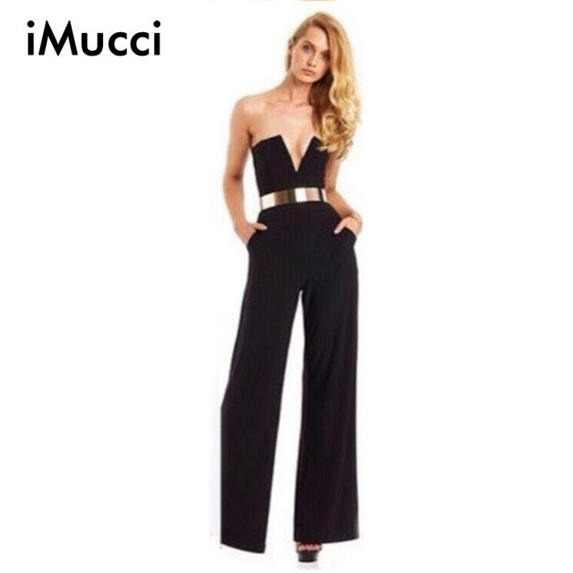 Black White Women s Strapless Flare Bodysuit Overalls Slim Pants Deep V Neck  Lady Jumpsuit Rompers Sleeveless Woman Playsuit c943238d5