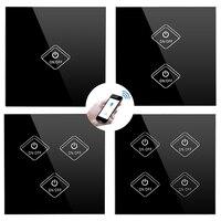 Tüketici Elektroniği'ten Ev Otomasyonu Modülleri'de Ingiltere akıllı anahtar WiFi/APP/dokunmatik kontrol duvar ışık anahtarı 1/2/3/4 CH İngiltere paneli duvar dokunmatik ışıklı anahtar akıllı ev anahtarı