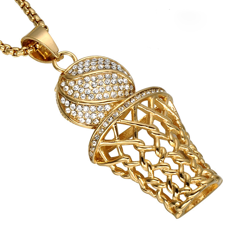 Basketball Hoop Pendant Necklaces With Zircon Gold Color Stainless Steel Chain Necklace Men Sports Hip Hop Jewelry VP494