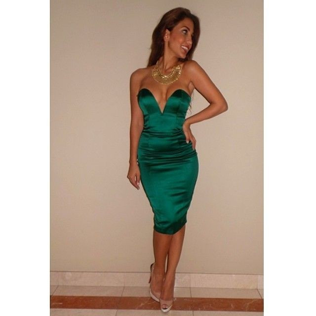 Emerald Green Satin Cocktail Dress