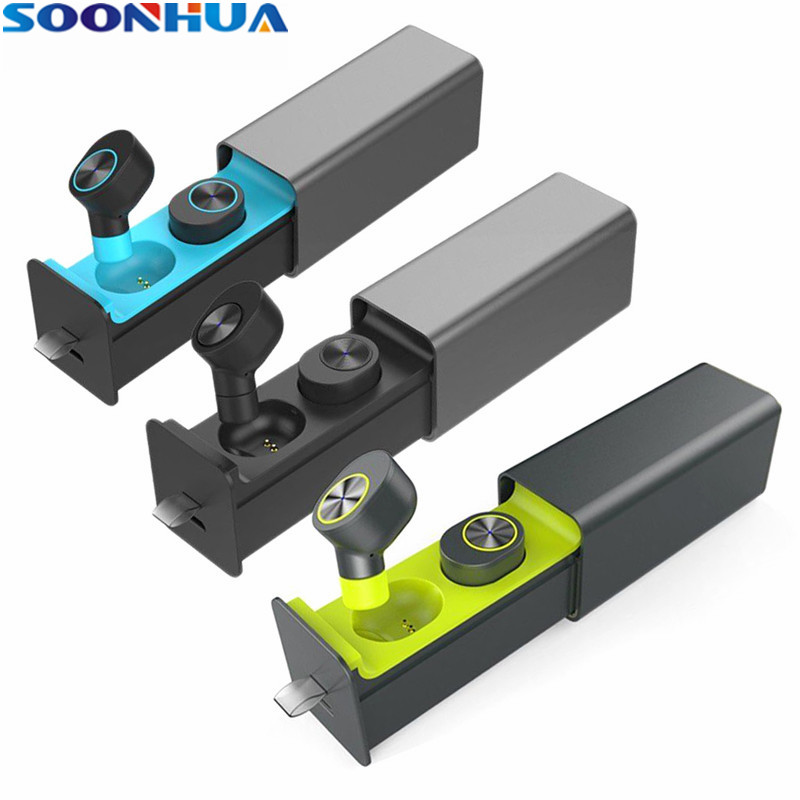 SOONHUA TWS Business Wireless Bluetooth Earphones Stereo Sports Headphones Headset With Power Bank with Handsfree Microphone