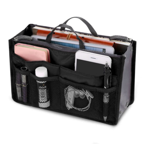 Portable Travel Insert Organizer Handbag Multiple Pockets Nylon Purse Large Liner Women Lady Fashionable Makeup Organiser Bag