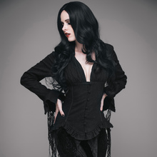 EVA LADY Steampunk Vintage Women Sexy Deep V Painting Shirts Gothic Palace Nobility Long Sleeve Lace