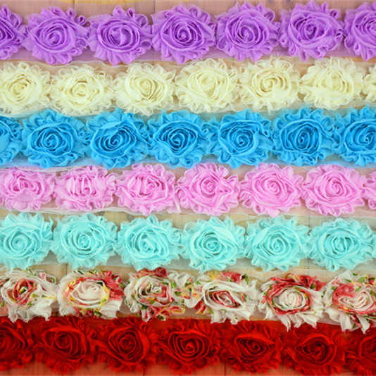 """Wholesale 26Colors 40 yards High Quality 2.5"""" Frayed Chiffon Shabby Flowers Chic Lace Flower Trims Free Shipping #FH43"""