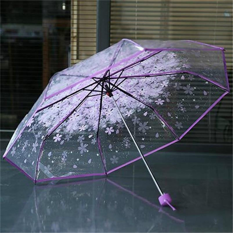 4 Colors Transparent Women Umbrella 2018 Clear Rain Umbrella Cherry Blossom Mushroom Apollo Sakura 3 Fold Umbrella #FG29 (21)