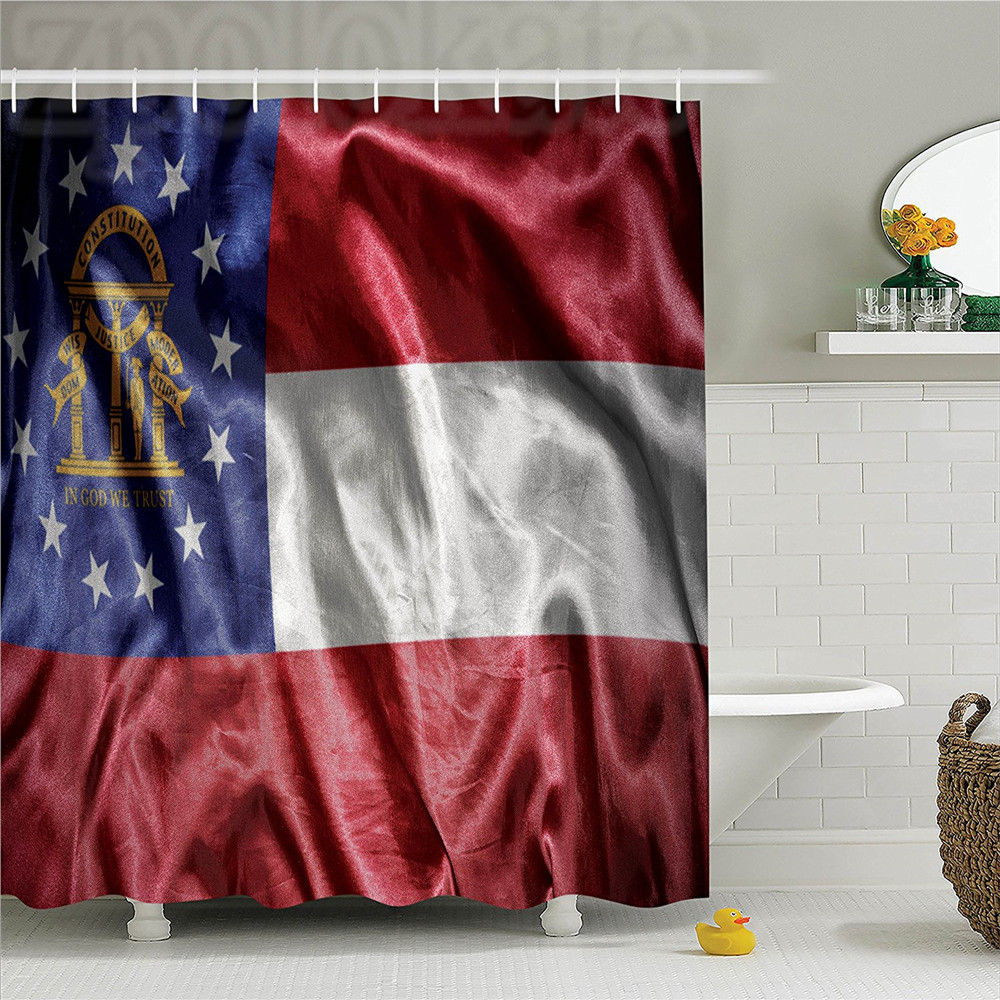 American Waving Georgia State Flag Three Stripes Golden State Coat of Arms Patriotic Image Polyester Bathroom Shower Curtain Red