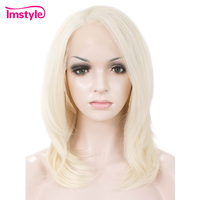 Imstyle Short Straight Synthetic Lace Wig Ash Blonde Wigs 14 Lace Front Bob Wig For Women Heat Resistant Fiber Natural Hair Wig