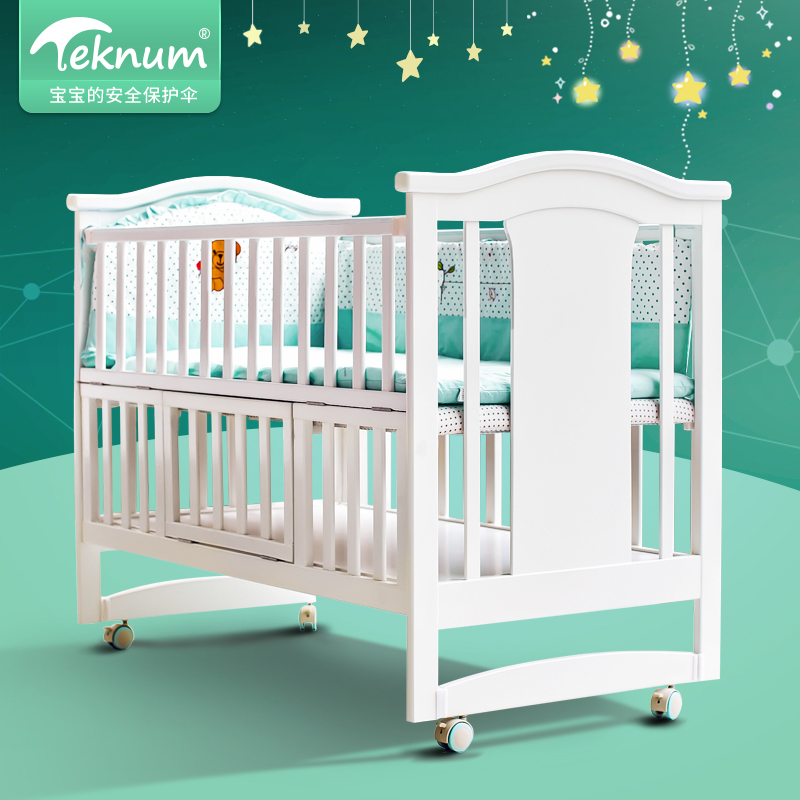 Teknum Crib, Solid Cradle Bed, Collapsible Mosquito Net Roller, Multifunctional Baby Bed Newborn cute baby crib 4pcs portable comfortable babies pad with sealed mosquito net mattress pillow mesh bag newborn sleep travel bed