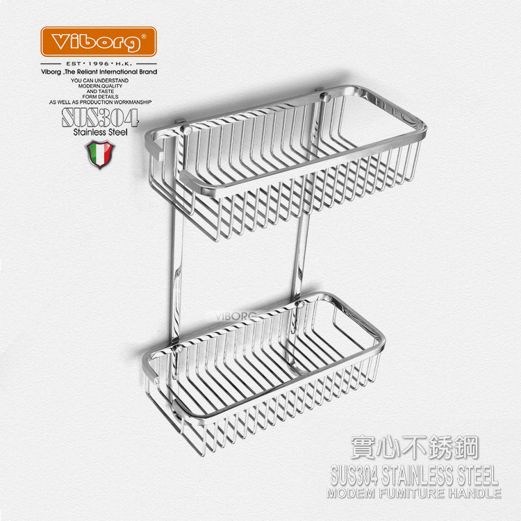 Viborg Deluxe Sus304 Stainless Steel Wall Mounted Double Tier Shower Basket Shelf Tidy Rack Caddy Storage Organizer viborg deluxe sus304 stainless steel foldable wall mounted bathroom towel rack shelf towel holder storage
