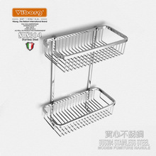 Viborg Deluxe Sus304 Stainless Steel Wall Mounted Double Tier Shower Basket Shelf Tidy Rack Caddy Storage Organizer