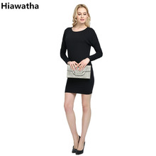 Hiawatha Women Long Sleeve Dress Fashion Slim Sequined Patchwork Dresses 2017 Spring O-Neck Vestidos Mujer L8035