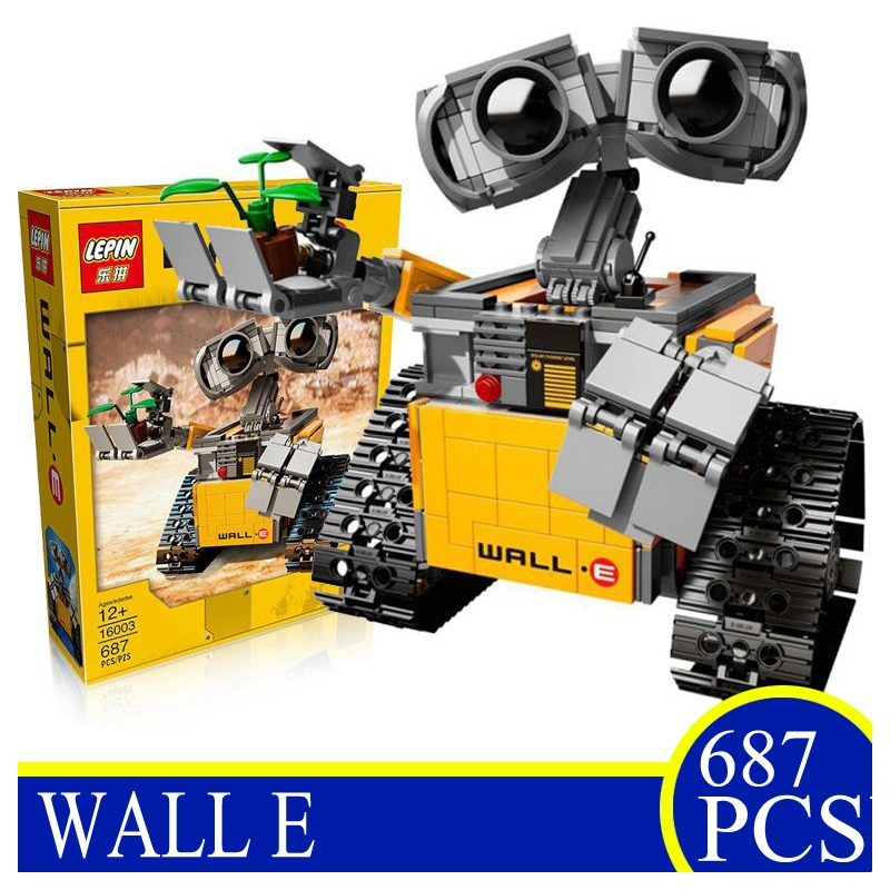 LEPIN NEW 16003 687PCS Idea Robot WALL E Building Blocks Bricks Educational Toys Action Figures Children Gifts Compatible 21303 new 687pcs lepin 16003 ideas series wall e lovable robot wall e building block minifigures with legoe 21303 toy kids boy