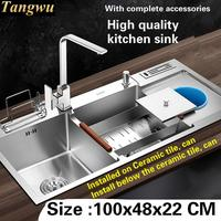 Free Shipping High Quality Food Grade 304 Stainless Steel Kitchen Sink Thickness 4 MM Larger Double