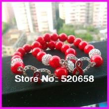 10pcs NEW style ! fashion crystal pave ribbon breast cancer connector red bead  shamballa bead bracelet 1b37b7bec2aa