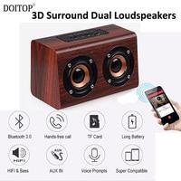 DOITOP Wooden Wireless Bluetooth SPeaker HIFI 3D Surround Dual Loudspeakers Bass Subwoofer Music Speaker Hand Free