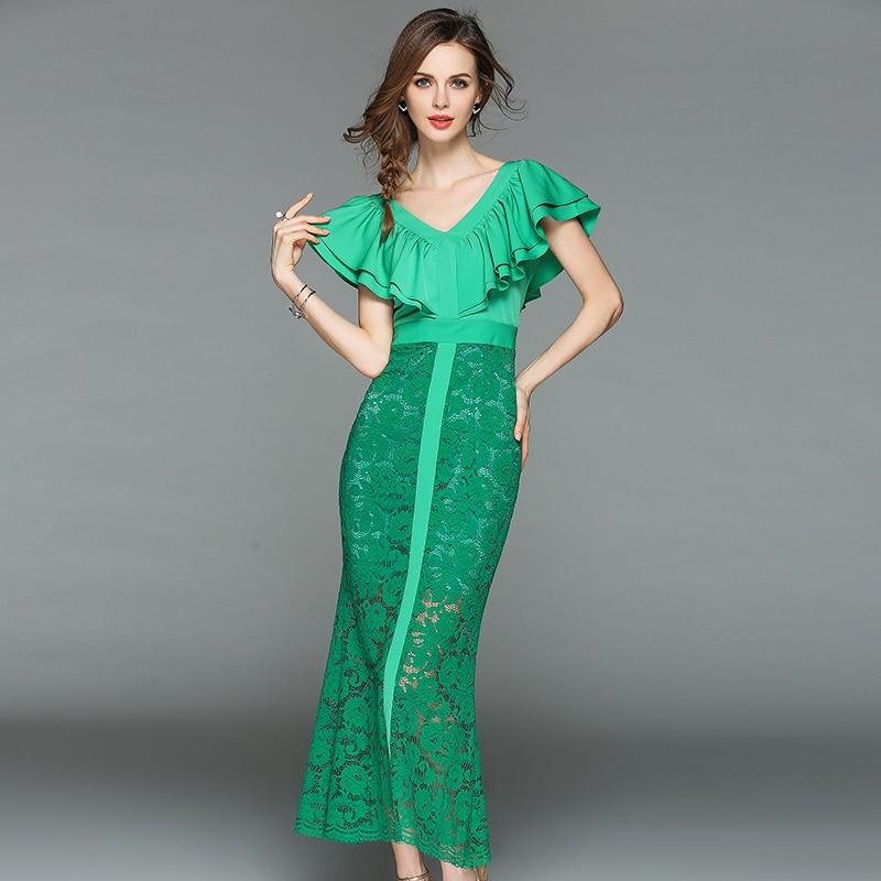 2018 Новая летняя модная женская одежда с v образным вырезом и короткими рукавами, винтажное платье с оборками, лоскутные кружевные длинные платья для женщин