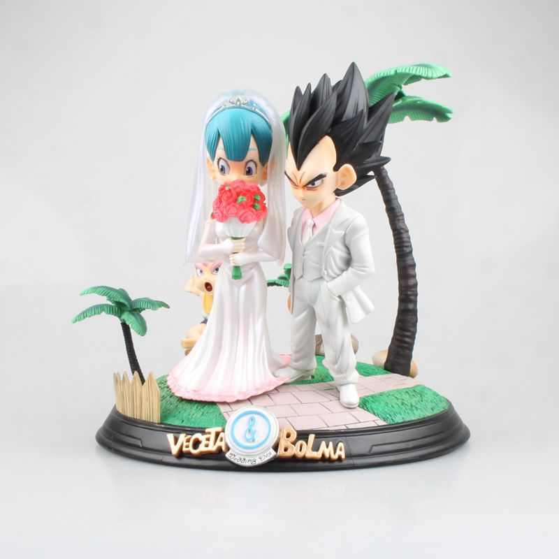 NEW hot 22cm Dragon Ball Vegeta Buruma Bulma marry Wedding dress Action figure collection toys doll Christmas gift
