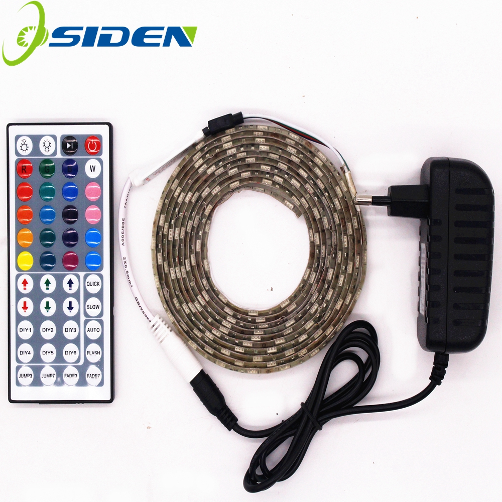 2 5m set led 5050 rgb strip light led light 60leds m led tape waterproof rgb diode ribbon 44key. Black Bedroom Furniture Sets. Home Design Ideas