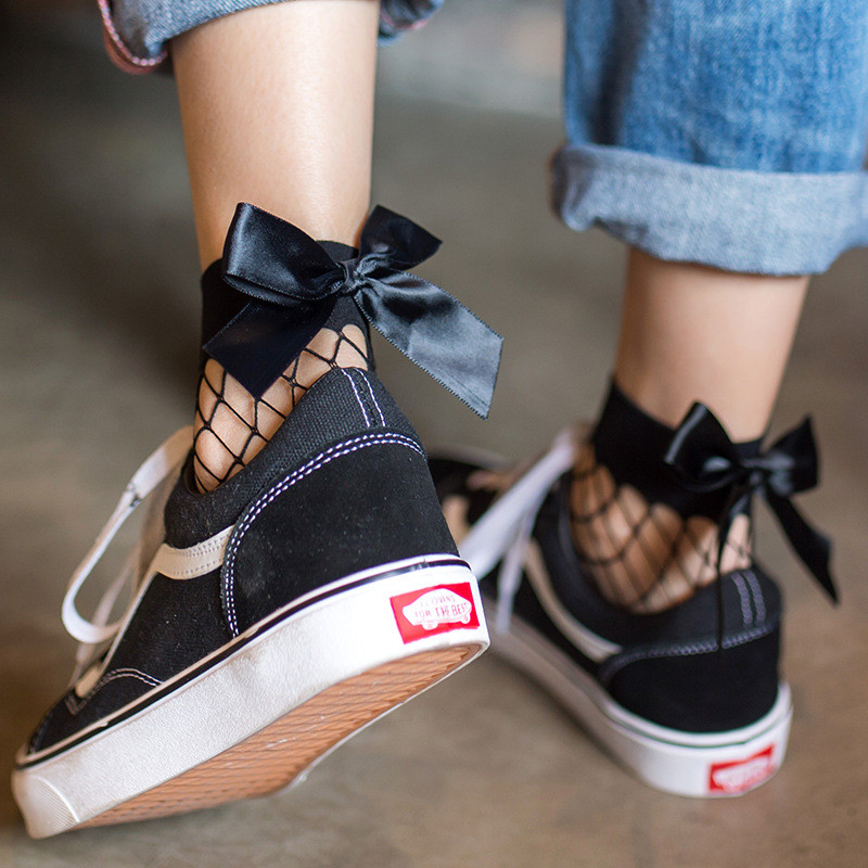 2019 New Style Sexy Women's Black Breathable Bow knot Fishnet   Socks   Sexy Hollow out Mesh Nets   Socks   Girl's Bow Sox Streetwear