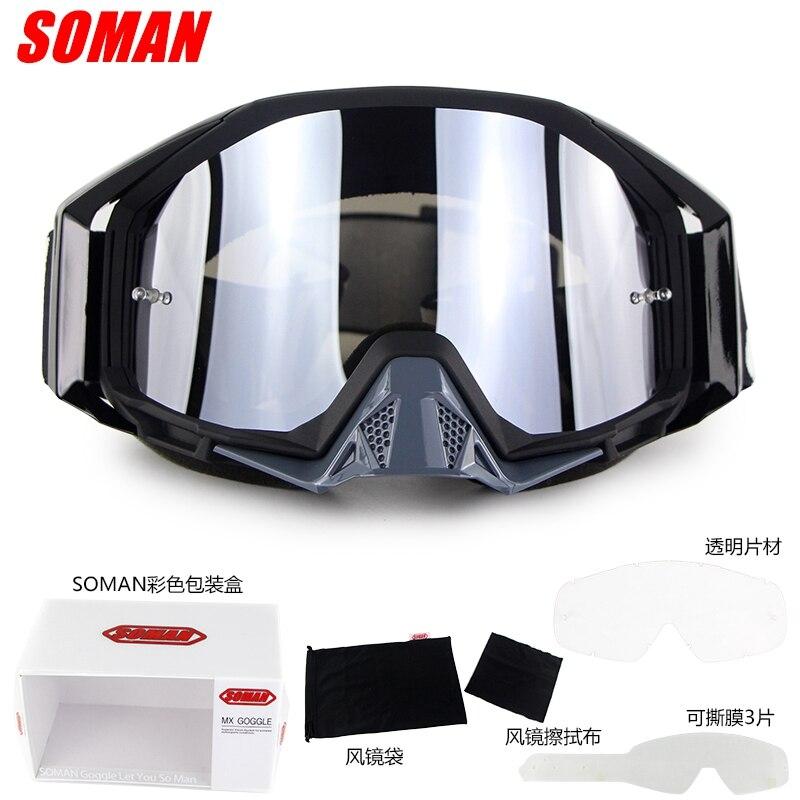 SOMAN Motocross lunettes lunettes Oculos casque de moto Gafas vous pouvez choisir retirer des films + Extra clair lentille SM13